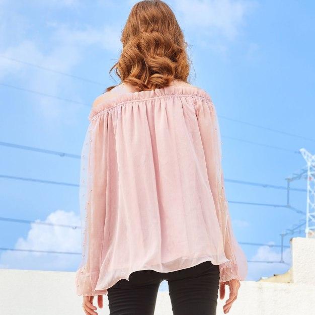 Pink Plain Off Neckline Long Sleeve Standard Women's Shirt