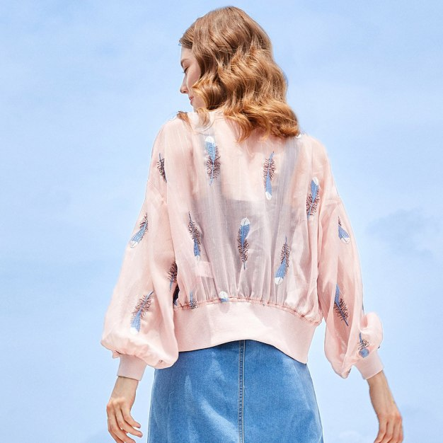 Pink Embroidery Collarless Long Sleeve Women's Outerwear