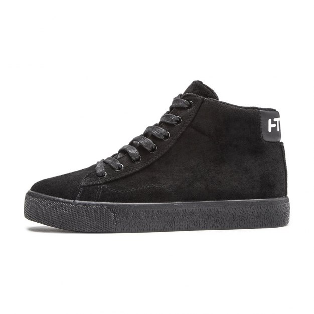 Black High Top Round Head Men's Flats