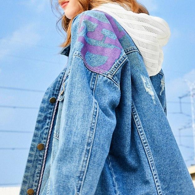 Blue Lapel Single Breasted Long Sleeve Loose Women's Outerwear