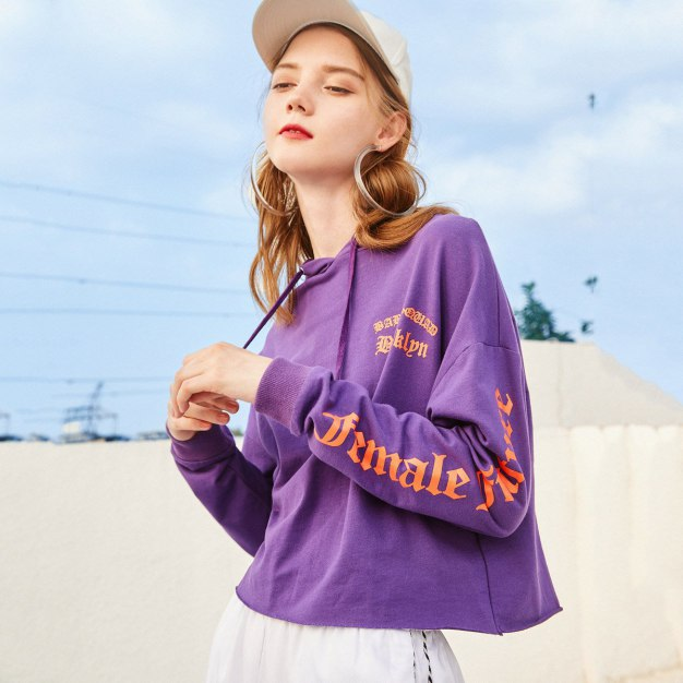 Purple Round Neck Elastic Long Sleeve Loose Women's Sweatshirt