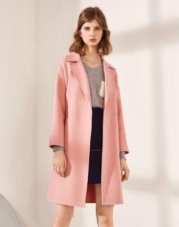Pink Long Sleeve Standard Women's Coat