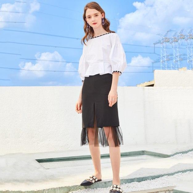 White Plain Round Neck Elastic 3/4 Sleeve Fitted Women's Shirt