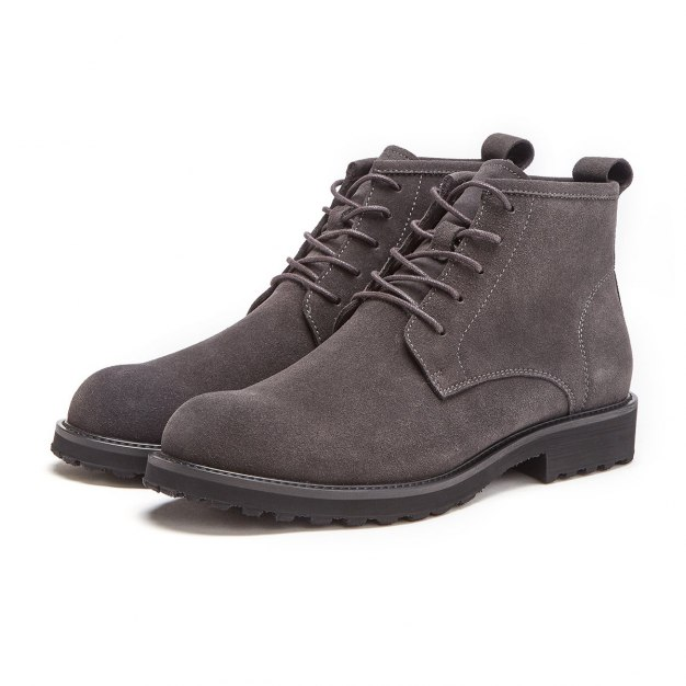 Gray High Top Round Head Men's Boots