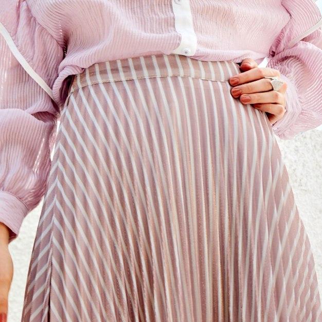 Pink High Waist Women's Pleated Skirt