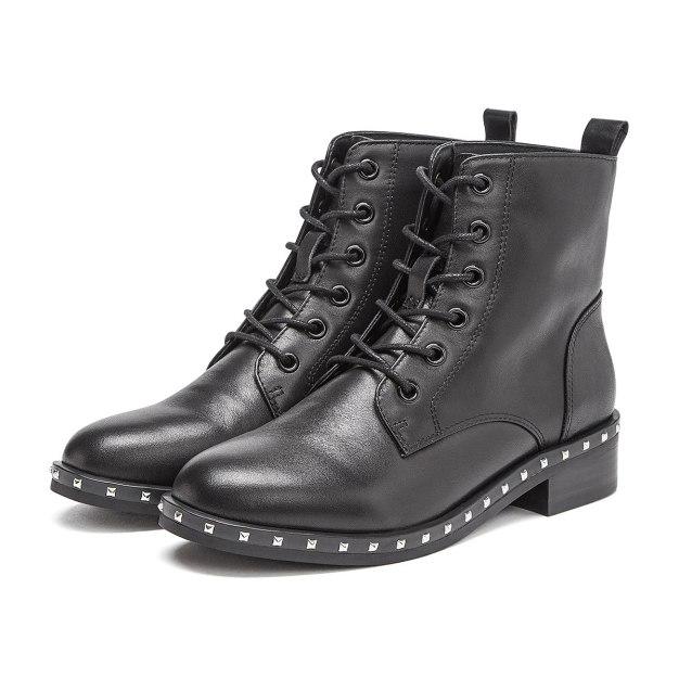 Black High Top Round Head Middle Heel Women's Martin Boots