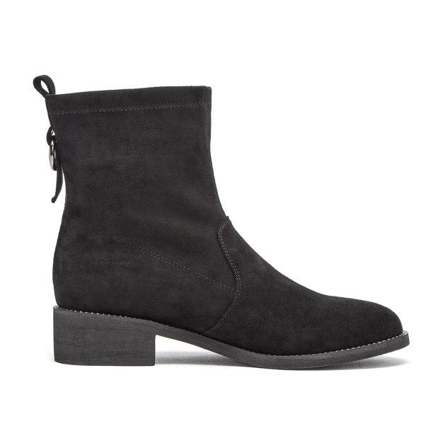 Black Round Head Middle Heel Medium Cylinder Women's Boots