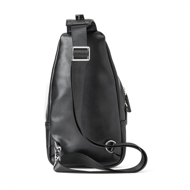 Black Plain PU Small Men's Shoulder Bag