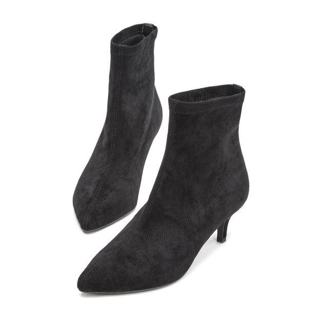 Black Pointed High Heel Medium Cylinder Women's Boots