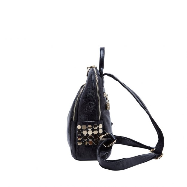 Black Cowhide Leather Small Plain Women's Backpack