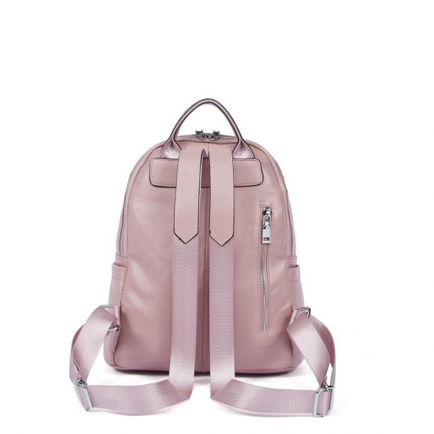 Pink Cowhide Leather Big Plain Women's Backpack
