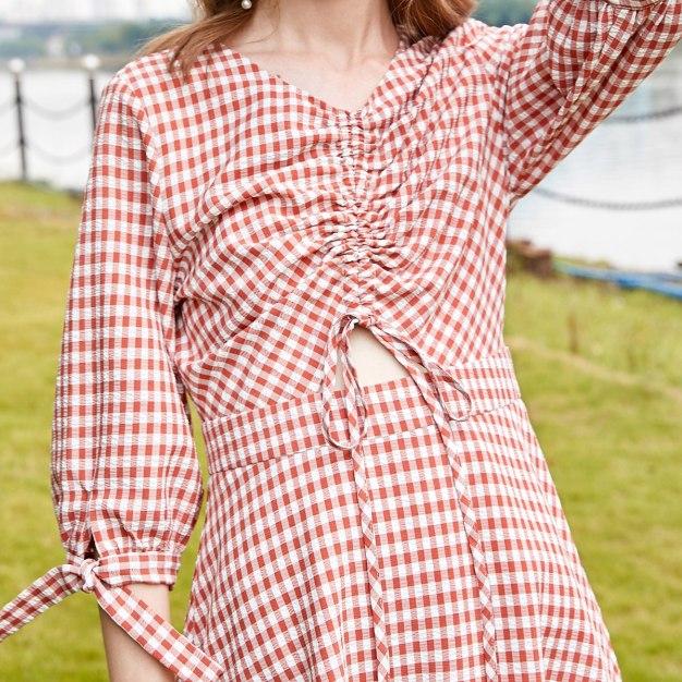 Red V Neck 3/4 Sleeve High Waist A Line Shaped Women's Dress