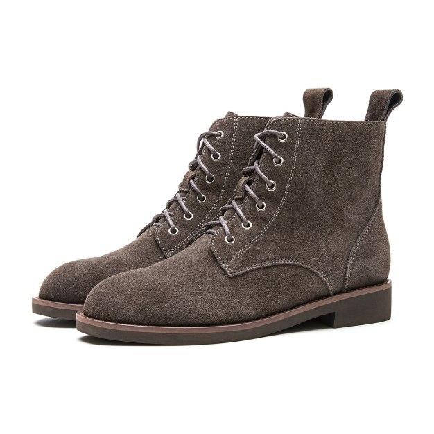 Gray Round Head Low Heel Women's Boots