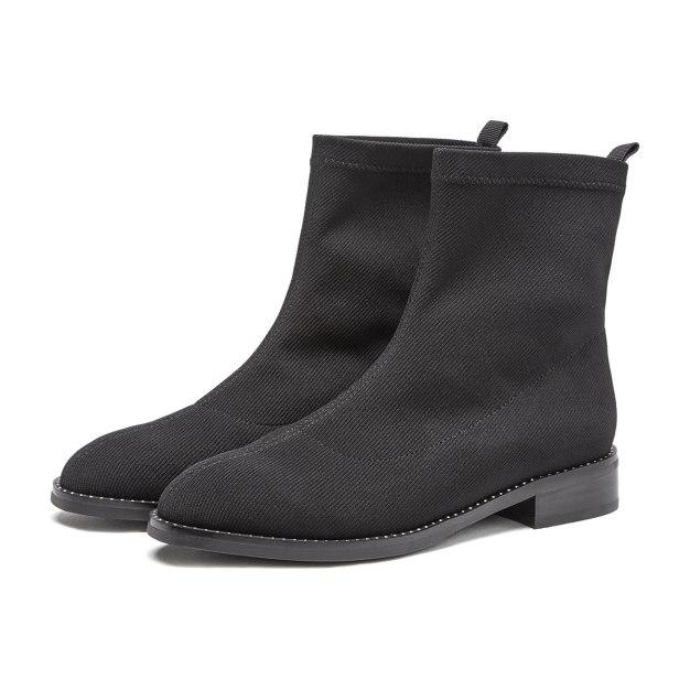 Black Round Head Middle Heel Women's Boots