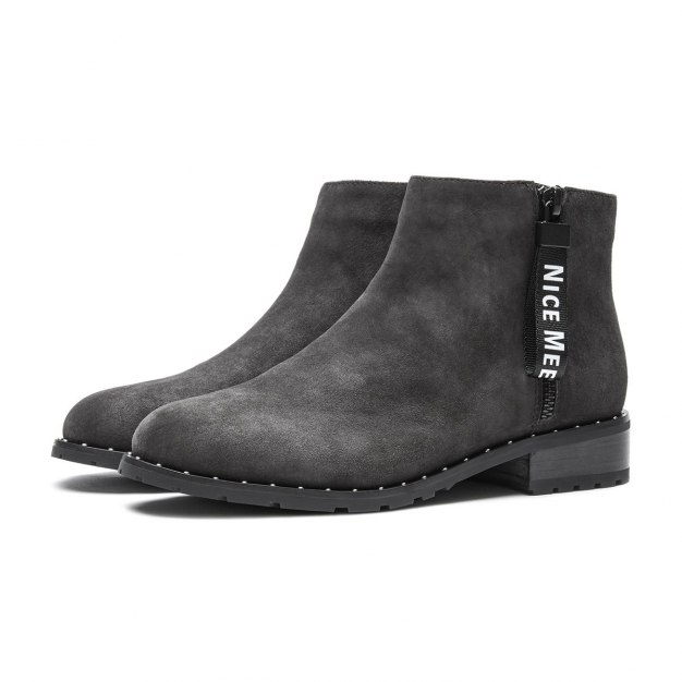 Gray Cut Round Head Low Heel Women's Boots