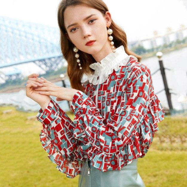 Red Stand Collar Long Sleeve Standard Women's Shirt