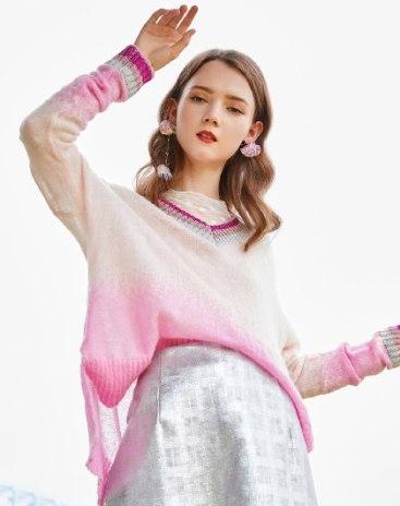 Pink Stripes V Neck Elastic Long Sleeve Loose Women's Knitwear