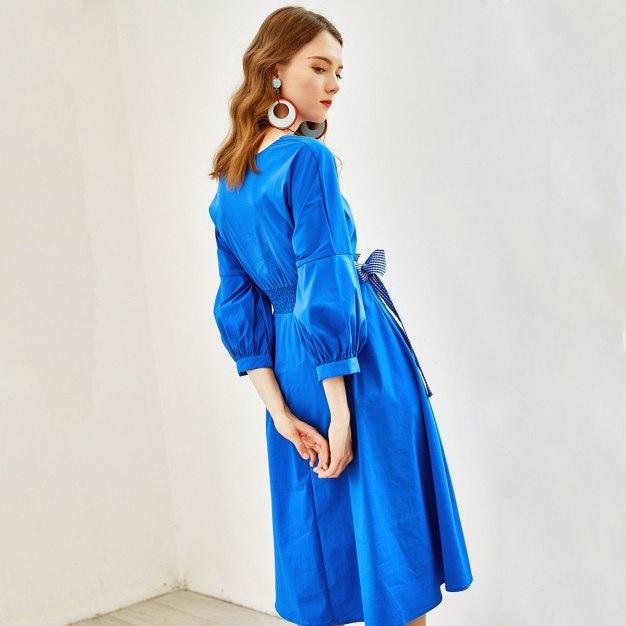 Blue V Neck 3/4 Sleeve High Waist Long Fitted Women's Dress