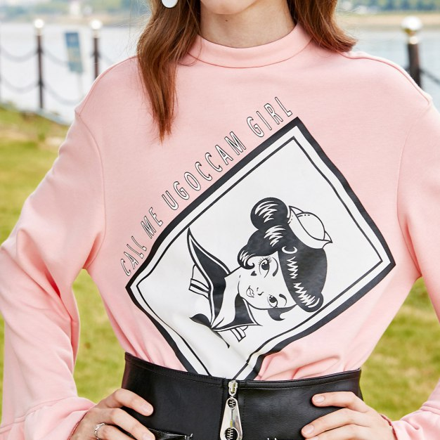 Pink Round Neck Elastic Long Sleeve Loose Women's Sweatshirt