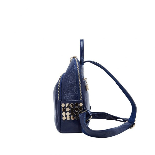 Blue Cowhide Leather Small Plain Women's Backpack