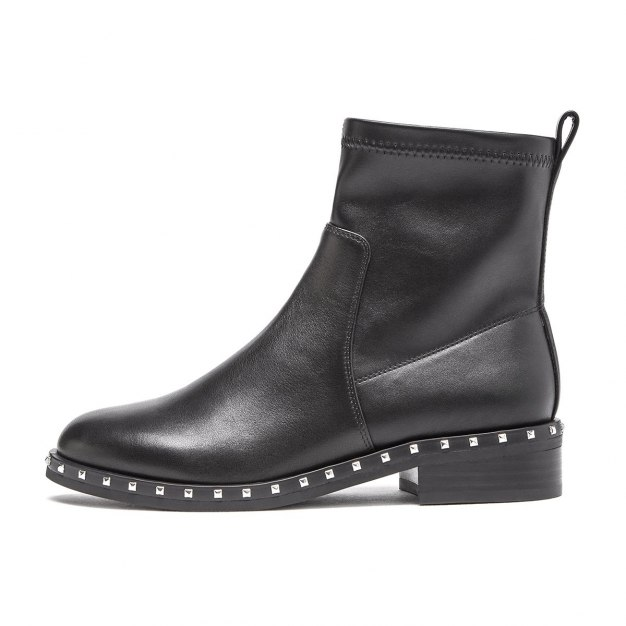Black Round Head Middle Heel Women's Boots