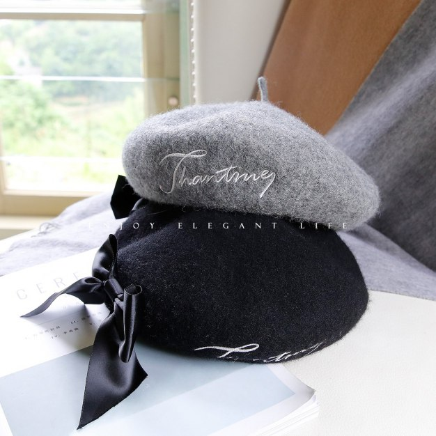 Gray Dome Beanie Beret Hat & Cap
