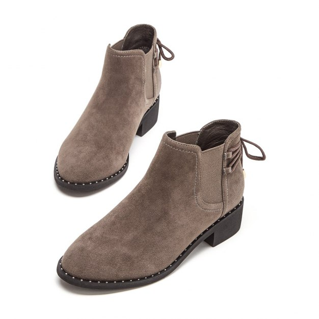 Gray Round Head Middle Heel Women's Boots