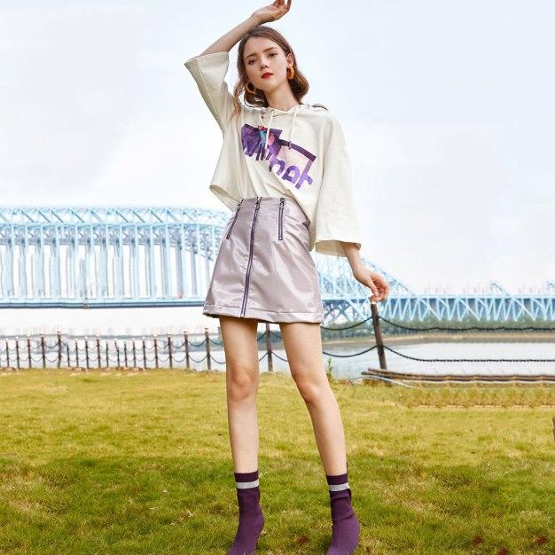 Purple High Waist Women's A Line Skirt