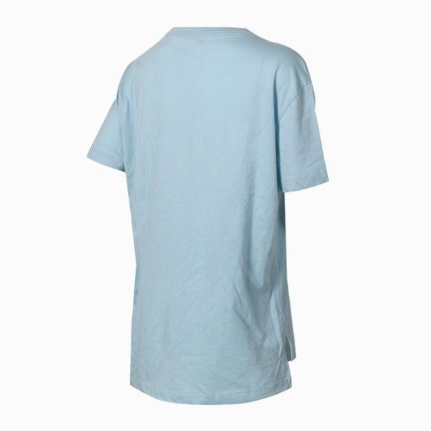 블루 반팔 표준 여성 티셔츠