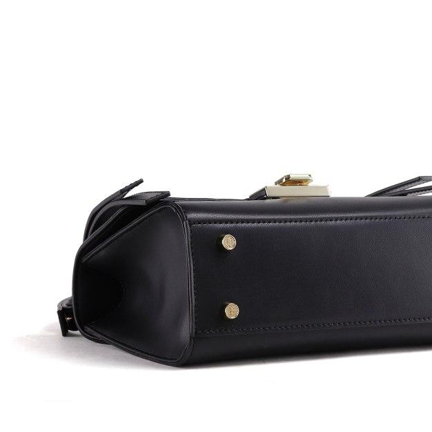 Black Plain Cowhide Leather Medium Women's Shoulder Bag