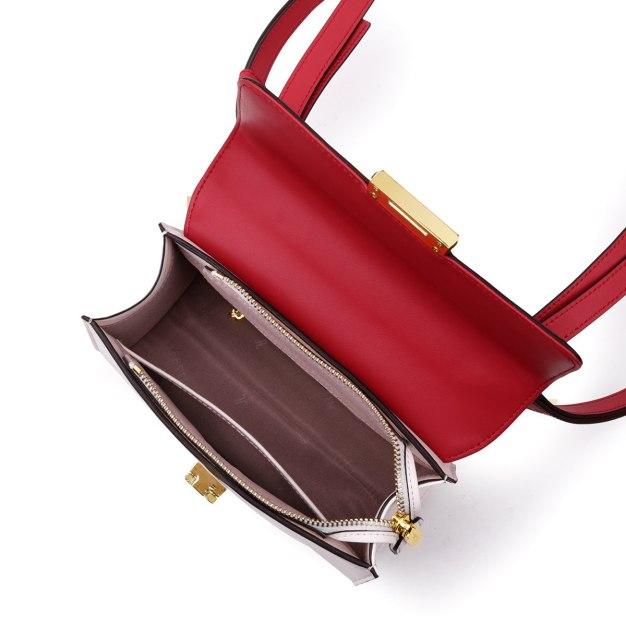 Red Plain Cowhide Leather Medium Women's Shoulder Bag