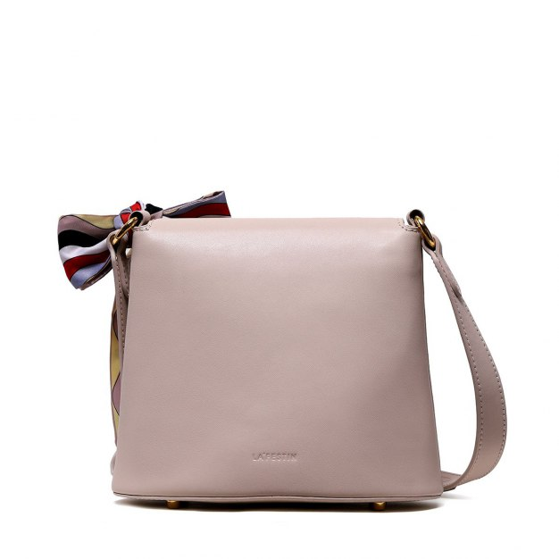 Beige Plain Cowhide Leather Medium Women's Shoulder Bag