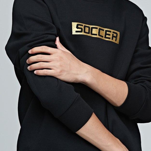 Black Warm Fitted Men's Sweatshirt