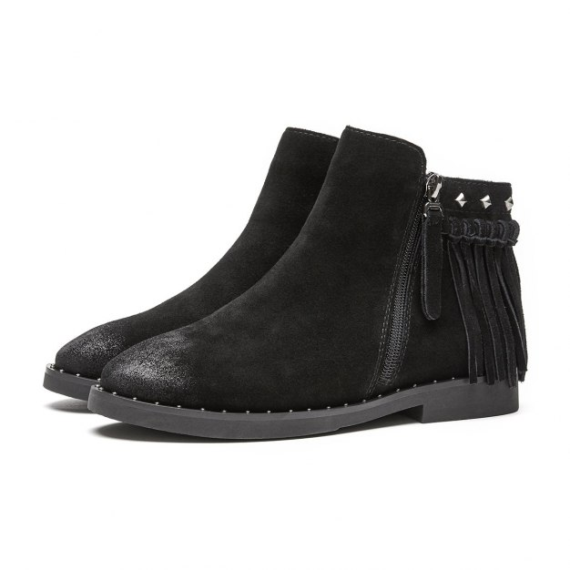 Black High Top Round Head Low Heel Women's Boots