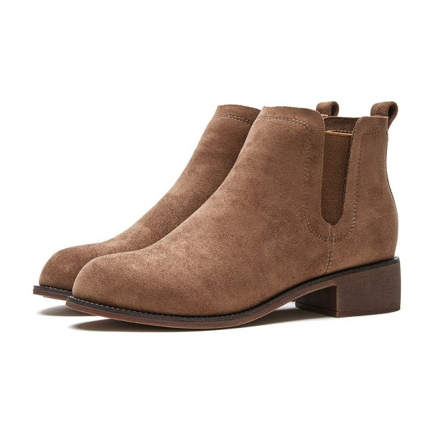Apricot High Top Round Head Middle Heel Women's Chelsea Boots