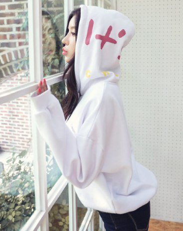 White Long Sleeve Loose Women's Sweatshirt