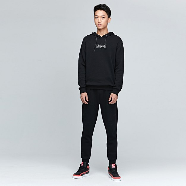 Black Warm Fitted Men's Sweatshirt