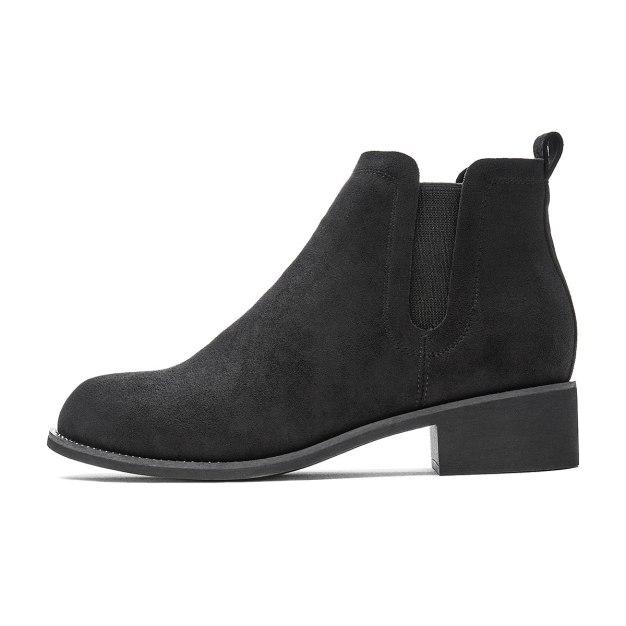 Black High Top Round Head Middle Heel Women's Chelsea Boots