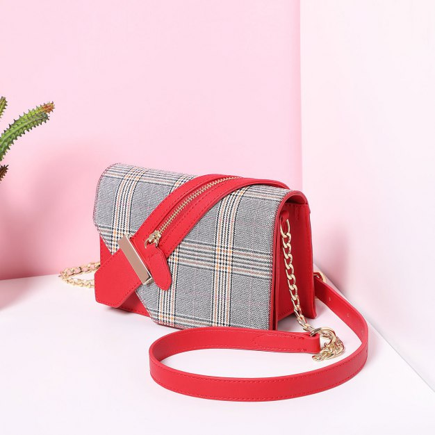 Red Houndstooth Pvc Envelope Bag Small Women's Crossbody Bag