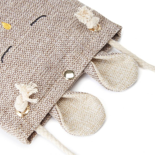 Beige Plain Canvas Purse(Long) Small Women's Wallet