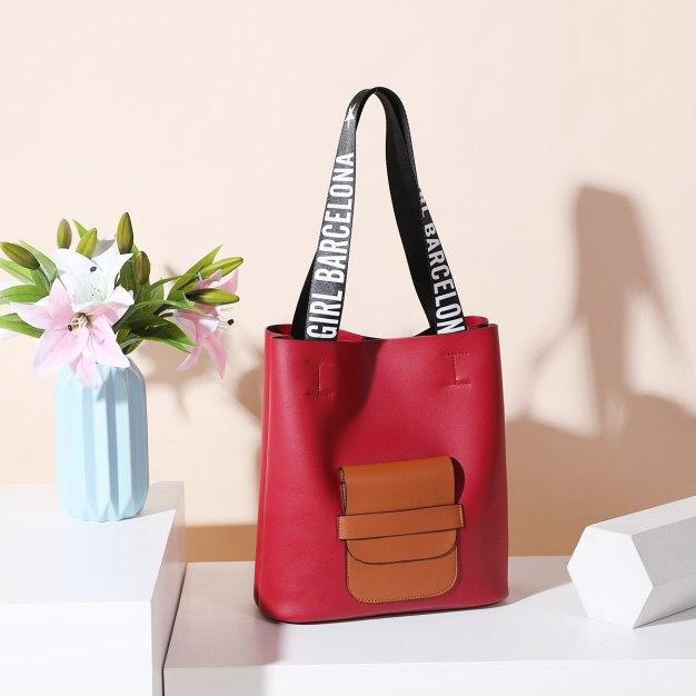 Red Pvc 2 Pieces Bag Big Women's Shoulder Bag