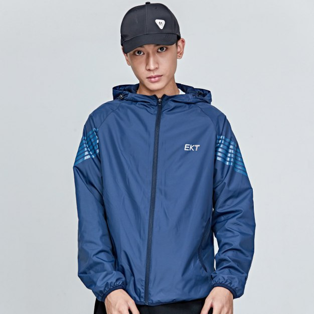 Blue Stand Collar Long Sleeve Fitted Anti-Pilling Men's Jacket