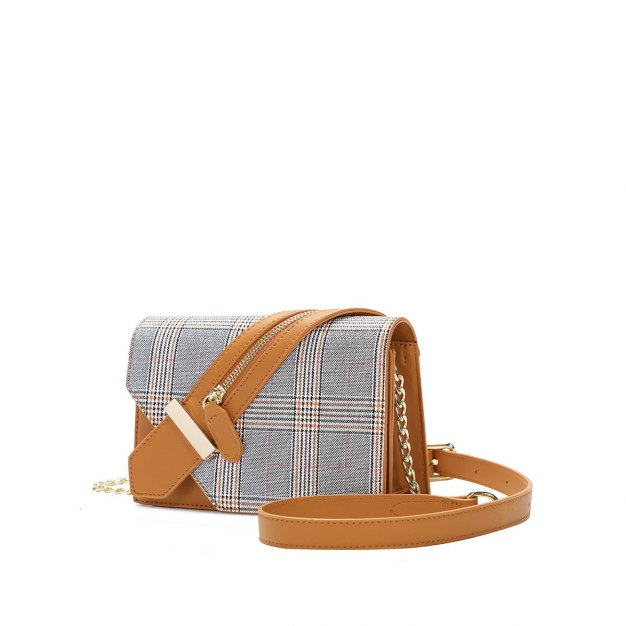 Yellow Houndstooth Pvc Envelope Bag Small Women's Crossbody Bag