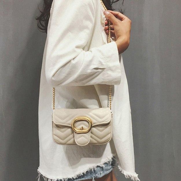 Beige Plain PU Messenger Bag Small Women's Crossbody Bag