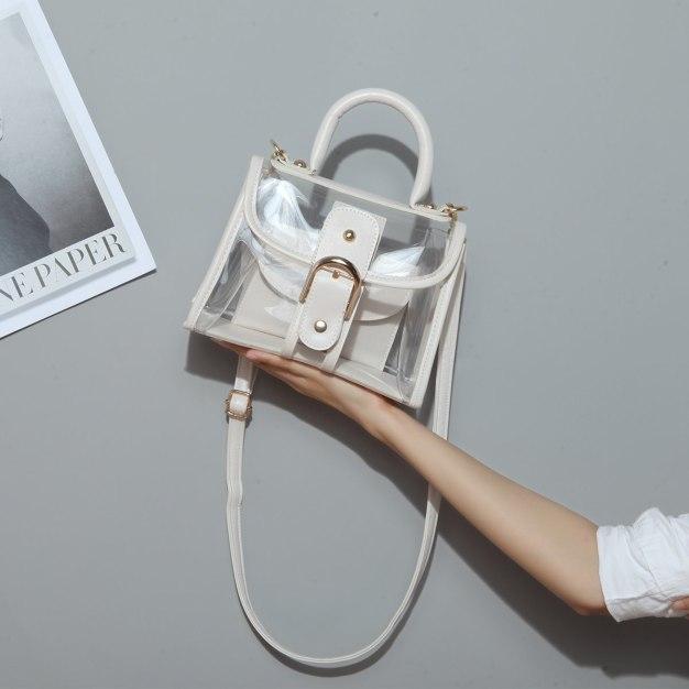 White Plain Pvc Jelly Bag Small Women's Crossbody Bag