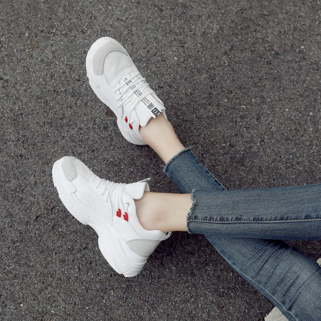 White Round Head Flat Women's Outdoor Shoes