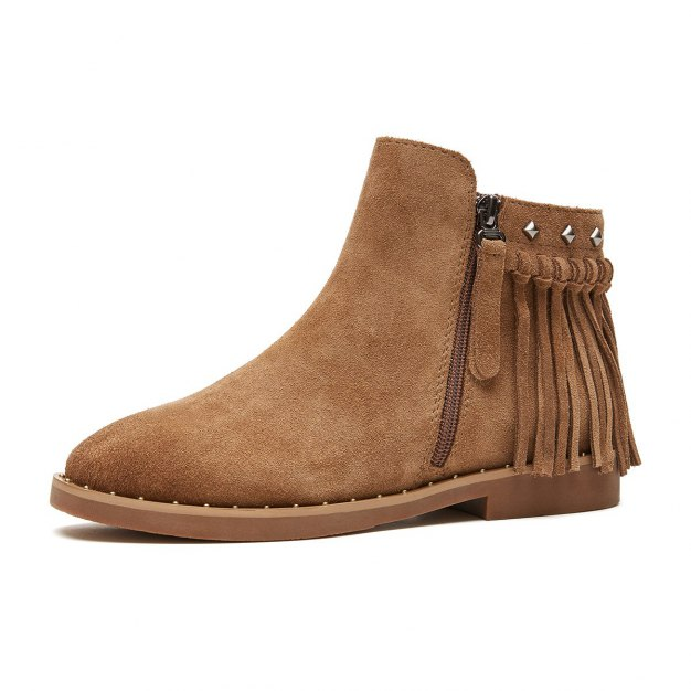 Apricot High Top Round Head Low Heel Women's Boots