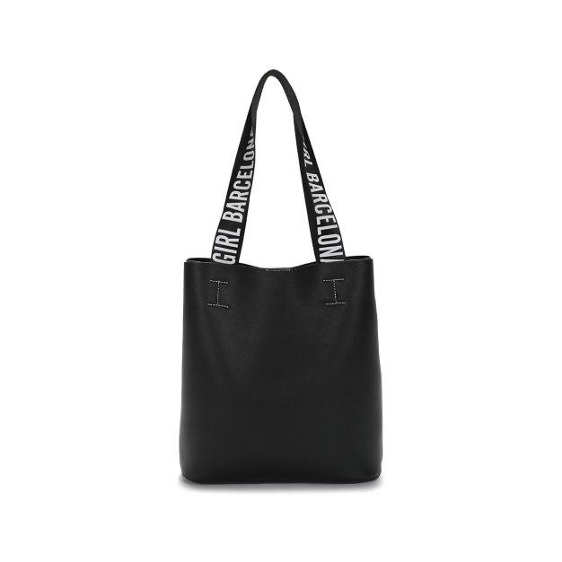 Black Pvc 2 Pieces Bag Big Women's Shoulder Bag