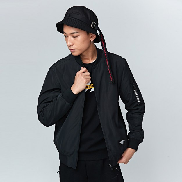 Stand Collar Long Sleeve Fitted Waterproof Men's Jacket