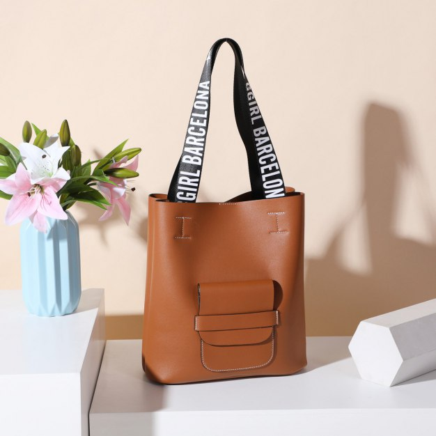 Brown Pvc 2 Pieces Bag Big Women's Shoulder Bag